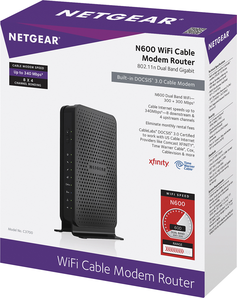 NETGEAR N600 Dual Band Router with DOCSIS 30 Cable Modem Black
