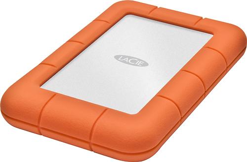 LaCie - Rugged Mini 1TB External USB 3.0/2.0 Hard Drive - Silver/Orange