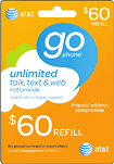 At & t Gophone - (immediate Delivery) $60 Prepaid Wireless Airtime 3827674