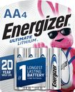 Energizer - Ultimate AA Lithium Batteries (4-Pack) - Silver