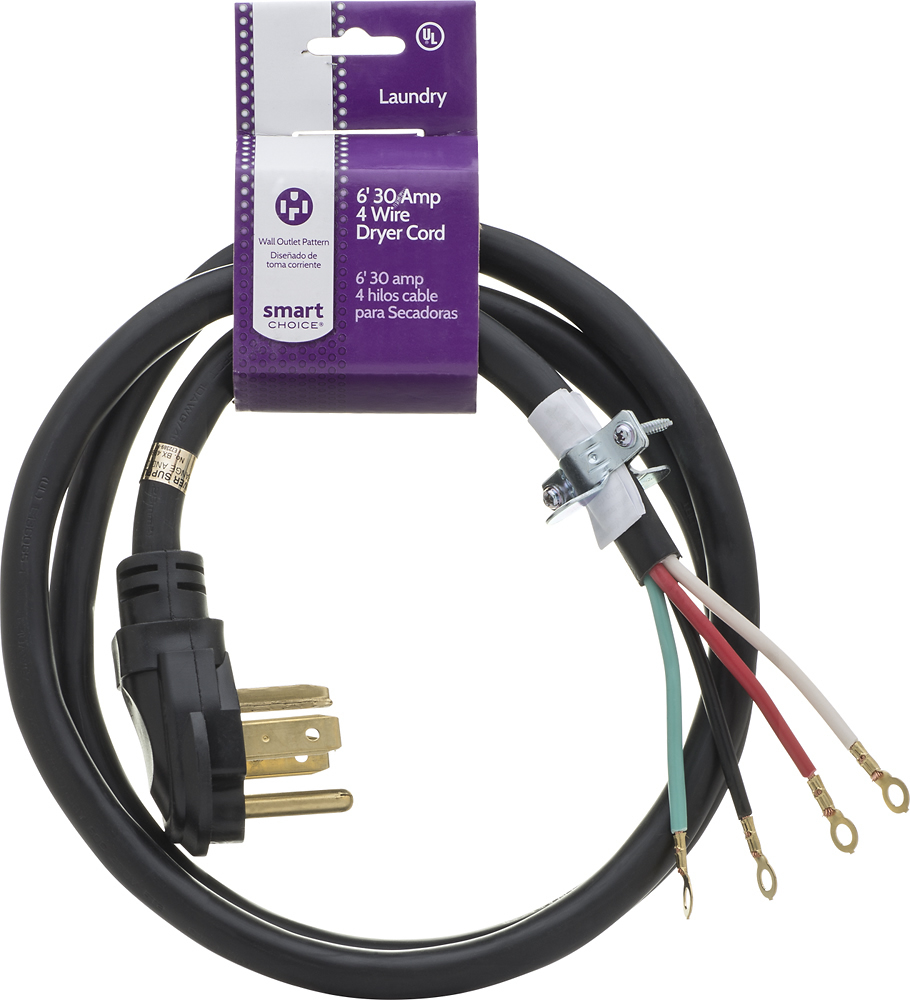 Smart Choice - 6\' 30-Amp 4-Prong Dryer Cord with Eyelet Terminals ...