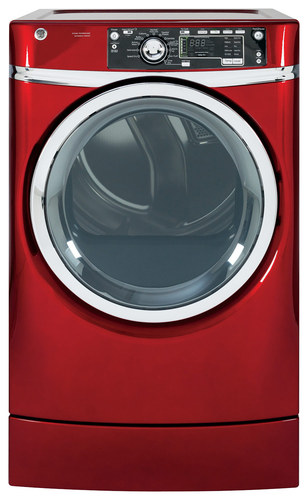 GE - RightHeight 8.3 Cu. Ft. 12-Cycle Electric Dryer with Steam - Ruby Red