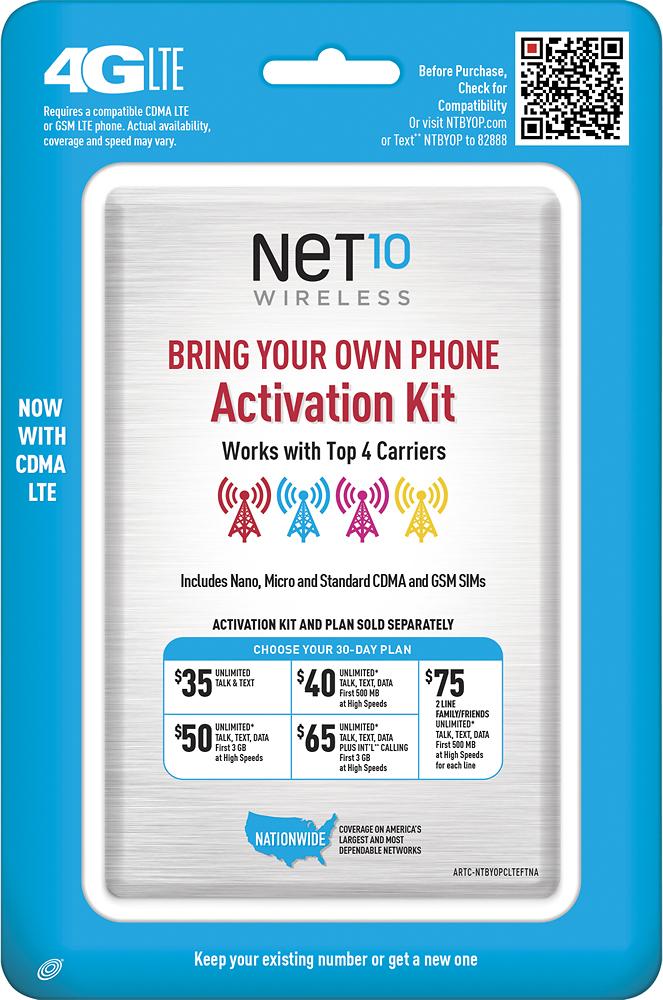 NET10 - SIM Card Kit for Unlocked GSM and CDMA Cell Phones - Multi