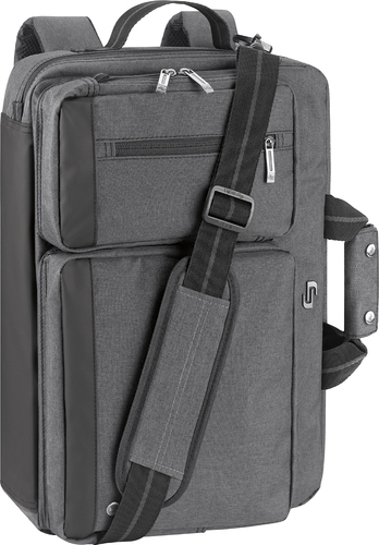 Solo Urban Convertible Laptop Briefcase Backpack Gray Larger Front