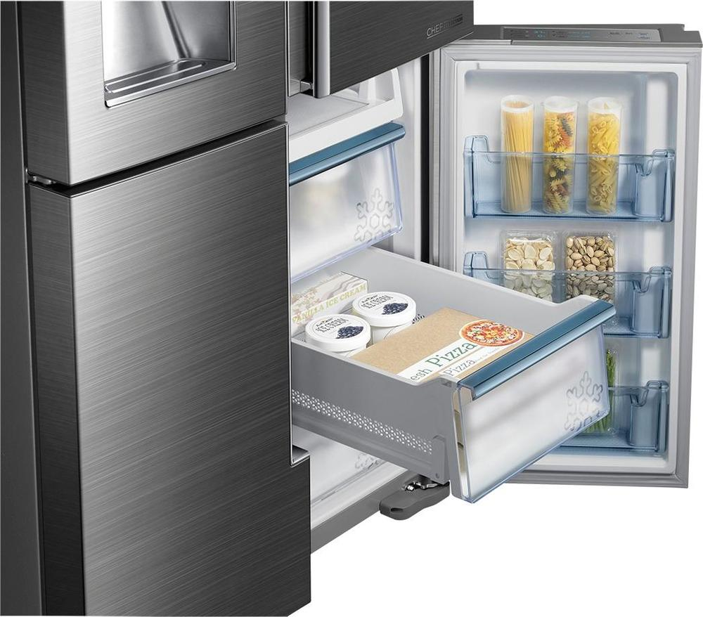 delightful Best Rated Kitchen Appliance Packages #7: Ft. 4-Door Flex French Door Refrigerator with Thru-the-Door Ice and Water  Silver RF34H9960S4 - Best Buy