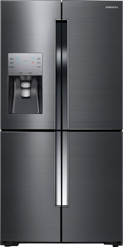 Samsung - 22.6 Cu. Ft. Counter-Depth 4-Door Flex French Door Refrigerator - Black Stainless Steel