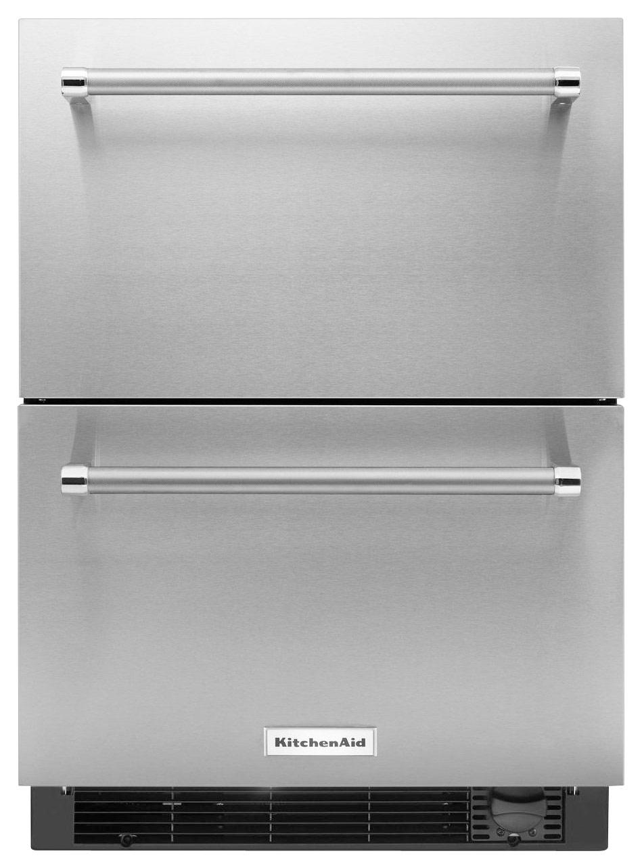 Kitchenaid Refrigerator White kitchenaid 4.7 cu. ft. double-drawer refrigerator silver