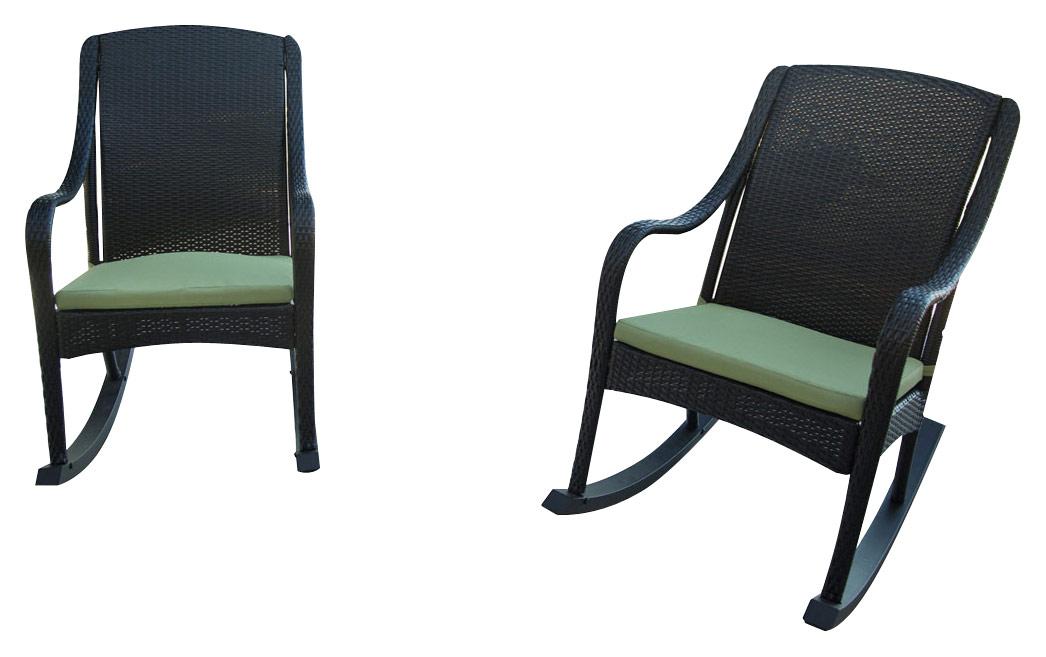 Hanover Orleans 4-Piece Wicker Rocking Chair Set Brown/Avocado Green ORLEANS4PCRKR