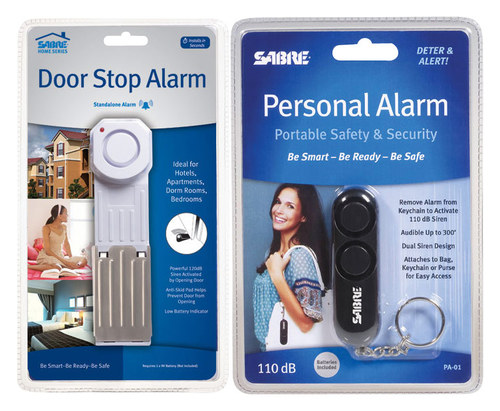 SABRE Door Stop and Personal Alarms White/Black HS-DSA-PA