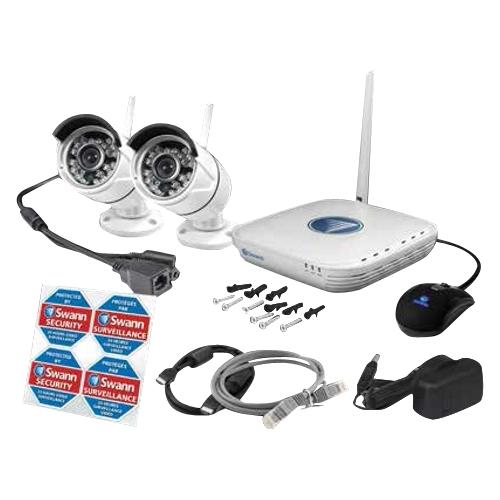 Swann - 4-Channel, 2-Camera Indoor/Outdoor Wireless High-Definition DVR Surveillance System - White