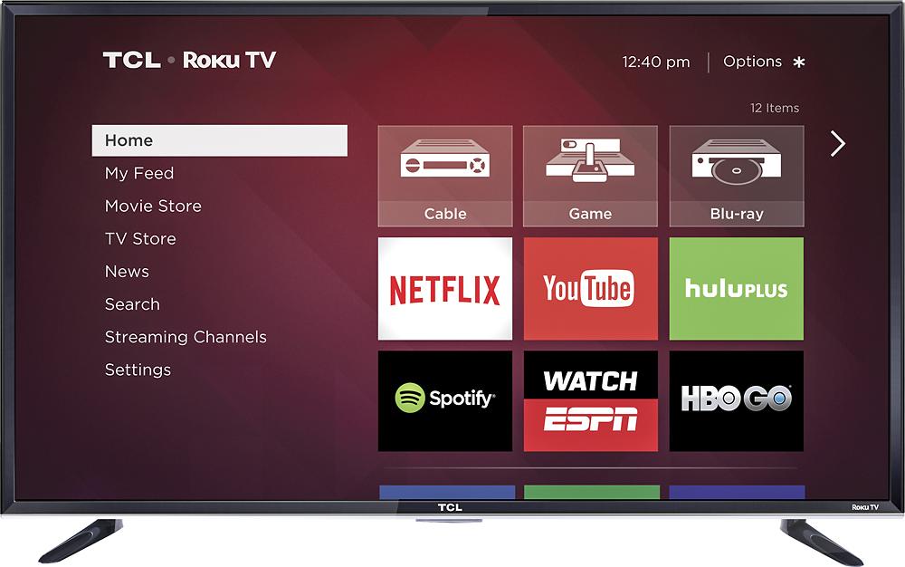 """Tcl - 50"""" Class (50"""" Diag.) - Led - 1080p - Smart - Hdtv Roku Tv - Black"""