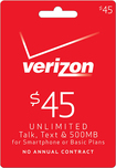 Verizon Wireless Prepaid - $45 Top-Up Card