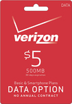 Verizon Wireless - $5 Data Add-On Card - Red