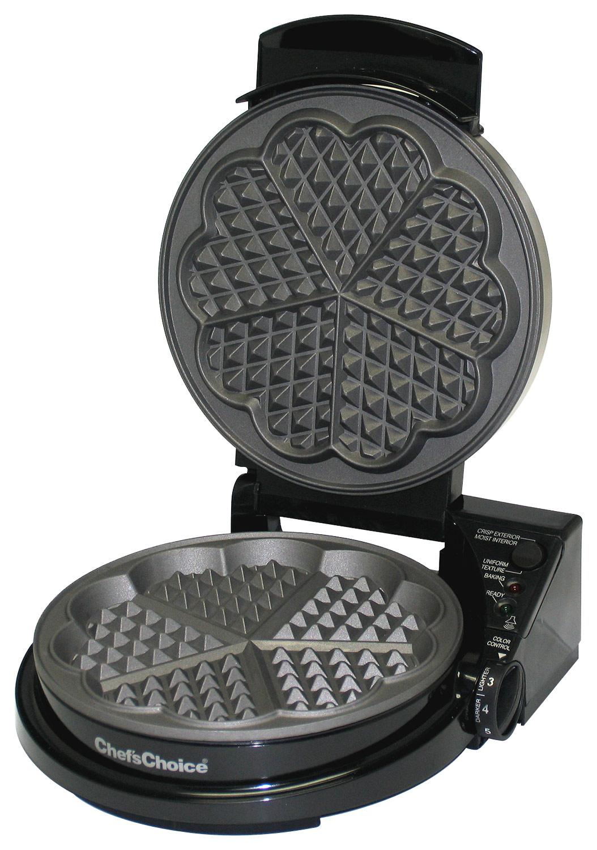 Chef'schoice - International Wafflepro Five Of Hearts Waffle Maker - Black 4286405