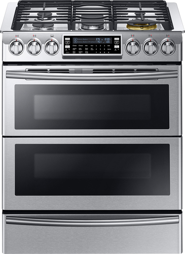Samsung - Chef Collection 30 5.8 Cu. Ft. Self-Cleaning Slide-In Double Oven Dual Fuel Convection Range - Stainless Steel