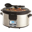 Bella - 13722 Programmable Slow Cooker with Locking Lid & Serving Spoon, 6-Quart - Black, Stainless Steel
