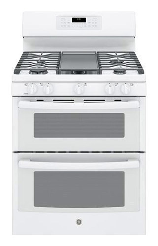 GE - 6.8 Cu. Ft. Self-Cleaning Freestanding Double Oven Gas Convection Range - White-on-White