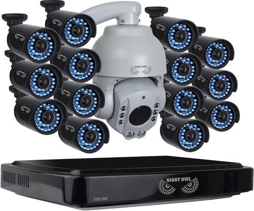 Night Owl 16-Channel, 15-Camera Indoor/Outdoor High-Definition DVR Surveillance System Black/Gray B-A720-162-14-1PTZ