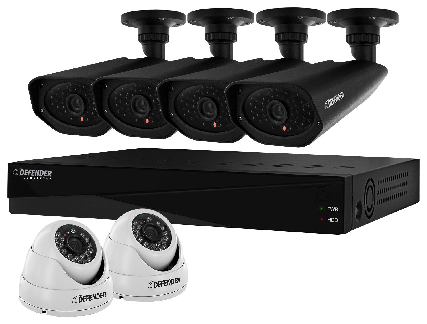 Defender PRO 8-Channel, 6-Camera Indoor/Outdoor DVR Surveillance System Black/White 21362