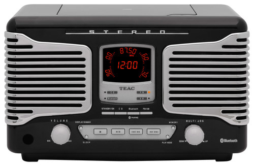 Teac - Retro Bluetooth Radio CD Player - Black