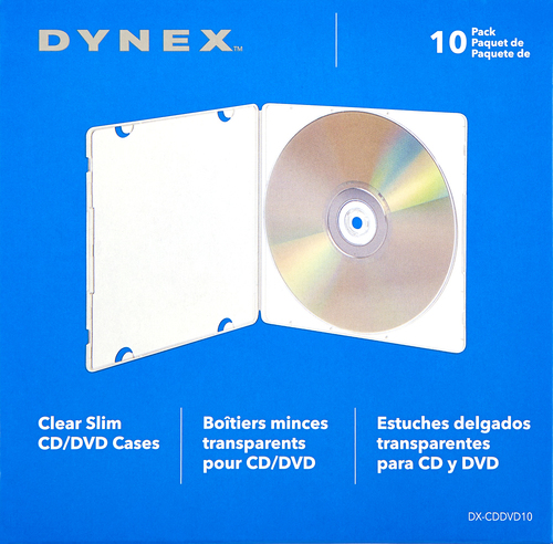 Dynex™ - Slim CD/DVD Cases (10-Pack) - Clear