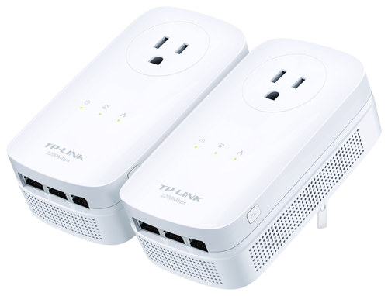 TP-Link - 3-Port Gigabit Pass-Through Powerline Kit - White