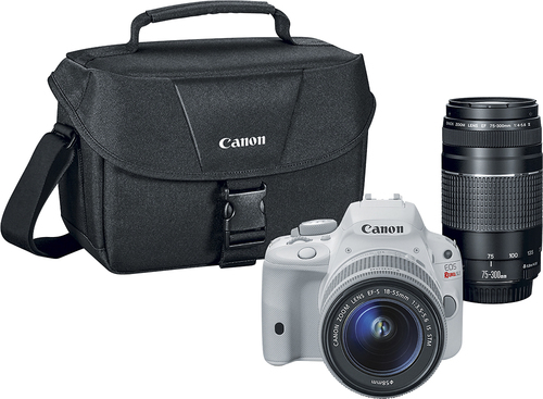 Canon - EOS Rebel SL1 Dslr Camera with 18-55mm STM and 75-300mm III Lenses - White