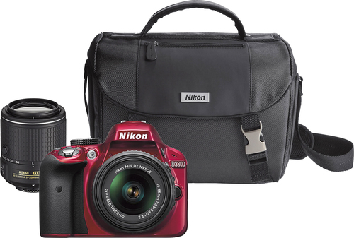 Nikon D3300 DSLR Camera with 18-55mm VR II and 55-200mm VR II Lenses Red 13492