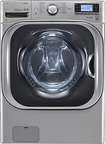 LG - TurboWash 5.2 Cu. Ft. 14-Cycle Mega Capacity High-Efficiency Steam Front-Loading Washer - Graphite Steel