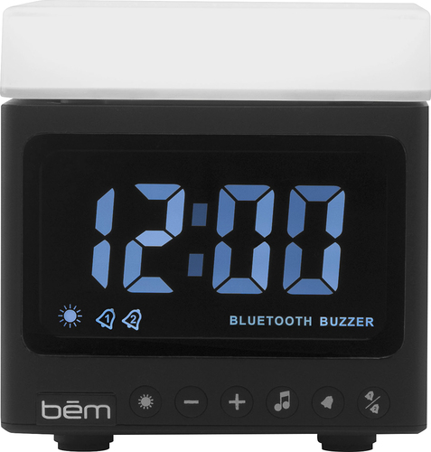 bem wireless - Eclipse Portable Bluetooth Stereo Clock Speaker - Black/White