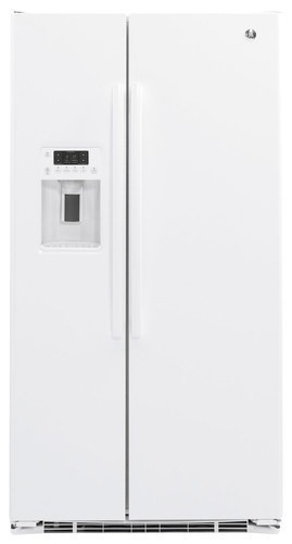 GE - 21.9 Cu. Ft. Side-by-Side Counter-Depth Refrigerator - White