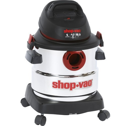Shop-Vac - 5 Gallon Stainless Steel Wet/Dry Vacuum Cleaner - Black, White