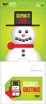 Best Buy Gc - $30 Snowman Holiday Gift Card