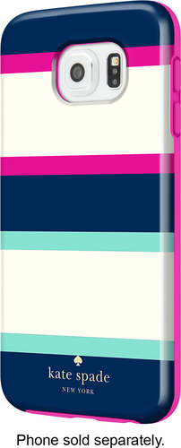 kate spade new york - Hybrid Hard Shell Case for Samsung Galaxy S6 Cell Phones - Multi Stripe Mint/Navy/Cream/Pink