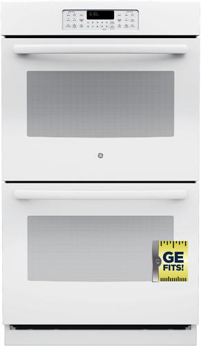 GE - 30 Built-In Double Electric Wall Oven - White-on-White