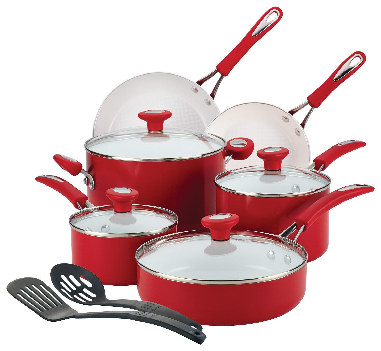 SilverStone - CXi 12-Piece Cookware Set - Chili Red/White