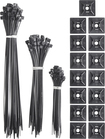 Insignia™ - Zip Cable Ties and Mounts (150-Piece) - Black