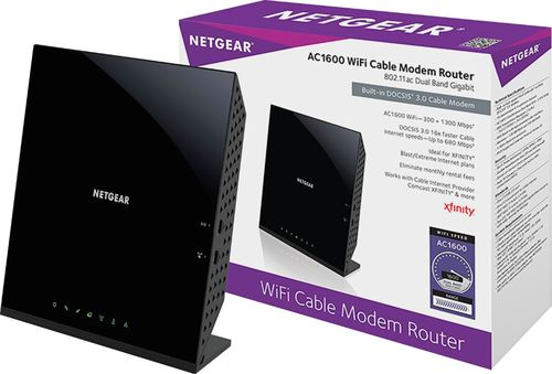 NETGEAR - AC1600 Wireless Router with Docsis 3.0 Cable Modem - Black