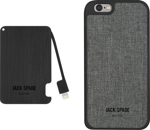 Jack Spade - Gift Box - Hard Shell Case with Portable Charger for Apple® iPhone® 6 and 6s - Black/Gray