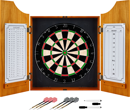 Trademark Games - Solid Wood Dart Cabinet Set - Brown