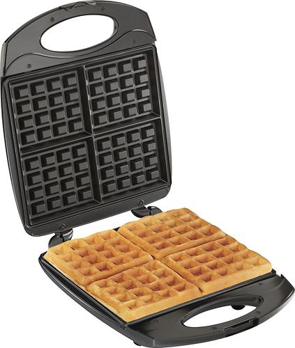 Hamilton Beach - 4-Waffle Belgian-Style Waffle Baker - Black/Stainless-Steel