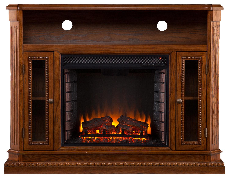 SEI - Atkinson Media Electric Fireplace - Brown Oak