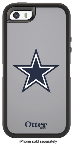 OtterBox - Defender NFL Series Dallas Cowboys Case for Apple® iPhone® SE, 5s & 5 - Silver/Navy Blue