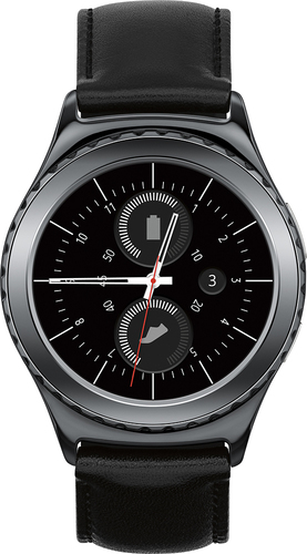 Samsung - Geek Squad Certified Refurbished Gear S2 Classic Smartwatch 40mm Stainless Steel - Black Leather