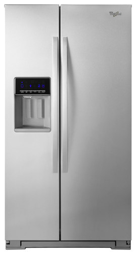 Whirlpool - 25.6 Cu. Ft. Side-by-Side Refrigerator with Thru-the-Door Ice and Water - Monochromatic Stainless Steel