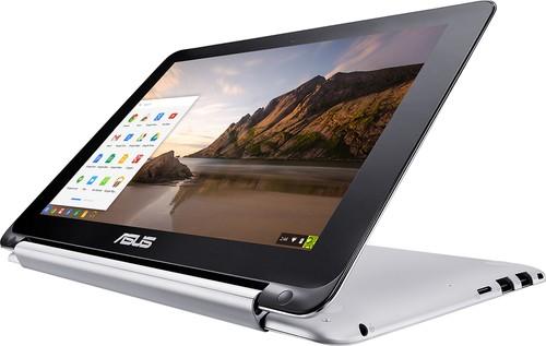 Asus - Geek Squad Certified Refurbished 2-in-1 10.1 Touch-Screen Chromebook - Rockchip - 2GB Memory - 16GB Flash Memory - Aluminum
