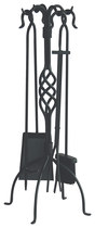 Click here for Uniflame, F-1053, 5pc Black Wrought Iron Fireset w... prices