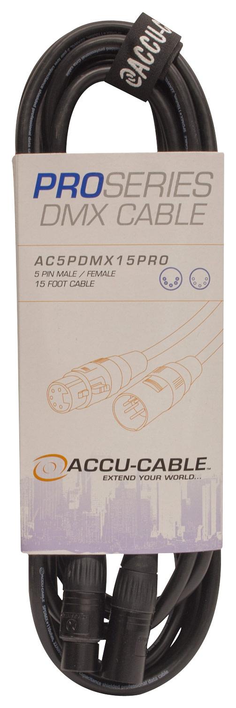 Accu-cable - Pro Series 15' 5-pin Dmx Cable - Black 4729641