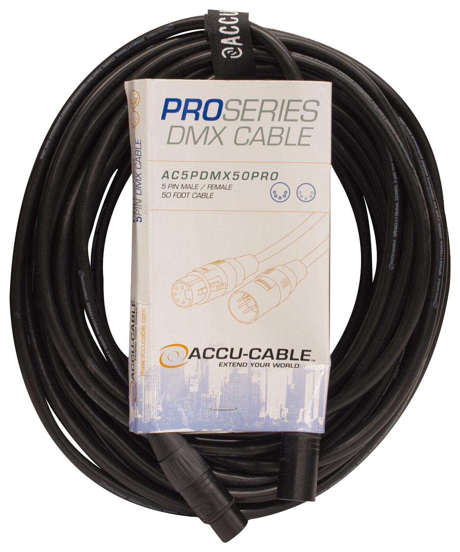 Accu-cable - Pro Series 50' 5-pin Dmx Cable - Black 4729660