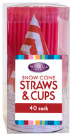Nostalgia Electrics - Snow Cone Straws And Cups - Red/white 4768118